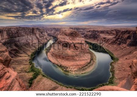 Colorado river at Horseshoe Bend, Page, AZ.  - stock photo