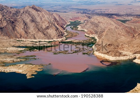 Colorado River joins Lake Mead - stock photo