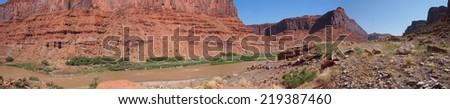 Colorado River Panorama w/ RV - stock photo