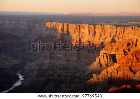 Colorado river view Grand Canyon National Park during sunset