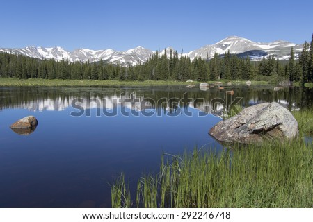 Colorado's Indian Peaks Wilderness - reflection of mountains in Brainard Lake