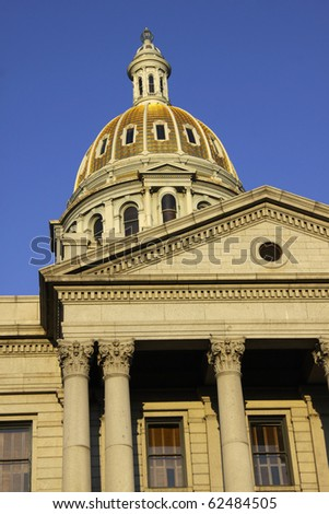 Colorado's state capital building against blue sky background - stock photo