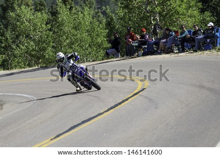 COLORADO SPRINGS, CO - JUNE 30: Jason Archuleta #251 rides a Yamaha YZ250 to 2nd place in the Pikes Peak 250 Class at the 2013 Pikes Peak International Hill Climb on June 30, 2013 in Colorado Springs.