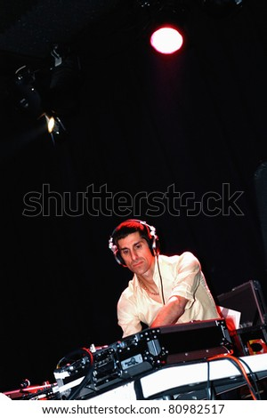 COLORADO SPRINGS, CO. USA – FEBRUARY 1:	Vocalist/Front-man Perry Farrell of Janes Addiction fame spins and dj's live at club 32 Bleu in Colorado Springs, CO. USA February 1, 2004