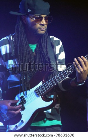 COLORADO SPRINGS, CO. USAMARCH 06:Guitarist/Bassist Joel Whitley of the band Everlast performs in concert March 06, 2012 at the City Auditorium in Colorado Springs, CO. - stock photo
