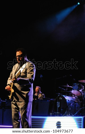 COLORADO SPRINGS, CO. USA	MARCH 12:		Guitarist Herschel Yatovitz of the Blues Rock band Chris Isaak performs in concert March 12, 2012 at the Pikes Peak Center in Colorado Springs, CO. USA