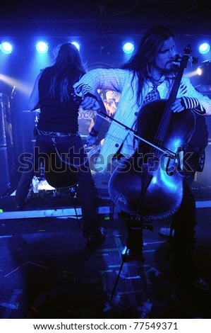 COLORADO SPRINGS, CO. USA – MAY 12:	Finnish heavy metal cello band Apocalyptica perform live May 12, 2011 at the Black Sheep Theater in Colorado Springs, CO. USA