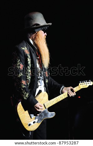 COLORADO SPRINGS, CO. USA	OCTOBER 11:		Guitarist/Vocalist Billy Gibbons of the Blues Rock band ZZ Top performs in concert October 11, 2011 at the Pikes Peak Center in Colorado Springs, CO. USA