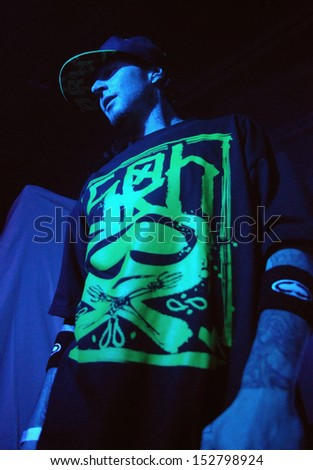 COLORADO SPRINGSNOVEMBER 30:Rapper Johnny Richter of the Alternative band the Kottonmouth Kings performs in concert November 30, 2011 at the Black Sheep music hall in Colorado Springs CO. - stock photo
