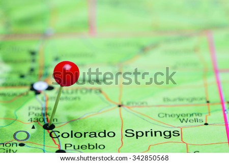 Colorado Springs pinned on a map of USA  - stock photo