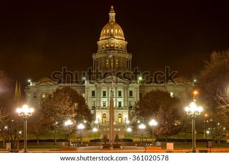 Colorado State Capitol at Night - A night view of Colorado State Capitol building at Downtown Denver, Colorado, USA. - stock photo