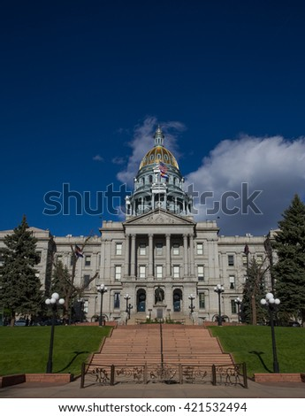 Colorado State Capitol Building 5280 Feet Above Sea Level - stock photo