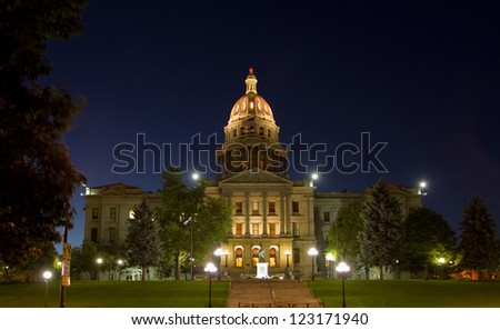 Colorado State Capitol Building in Denver, at night. - stock photo