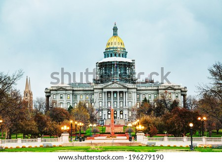 Colorado state capitol building in Denver in the evening - stock photo