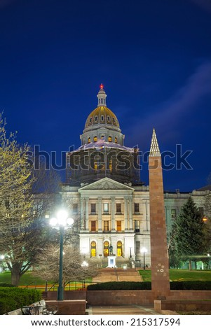 Colorado state capitol building in Denver in the night time - stock photo