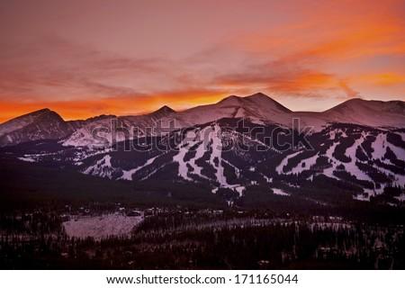 Colorado Sunset. Breckenridge Ski Slopes at Sunset. Colorado Mountains Landscape. - stock photo