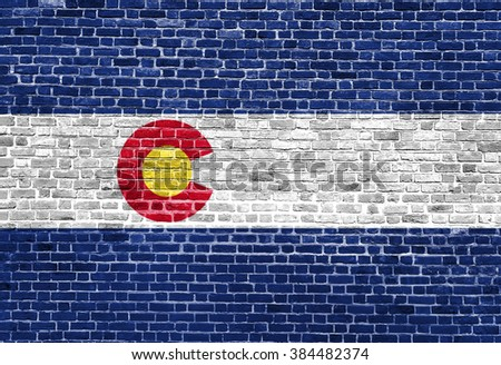 Colorado US flag painted on old vintage brick wall - stock photo