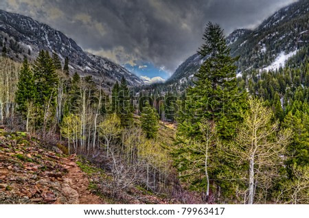 Colorado, Vail-Eagle Mountain Wilderness. A hike on this trail treats one to mountain vistas, waterfalls, stream crossings, and lots of snow. - stock photo