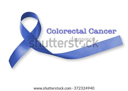 Colorectal/ Colon cancer awareness ribbon isolated on white background+ clipping path: Satin fabric dark blue colour symbolic concept raising campaign support people living w/ tumor illness - stock photo