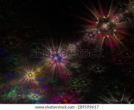 colored  abstract fractal stars and lines
