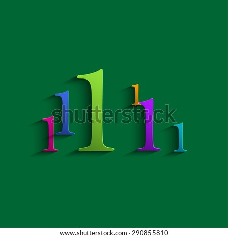 Colored abstract numbers one - stock photo