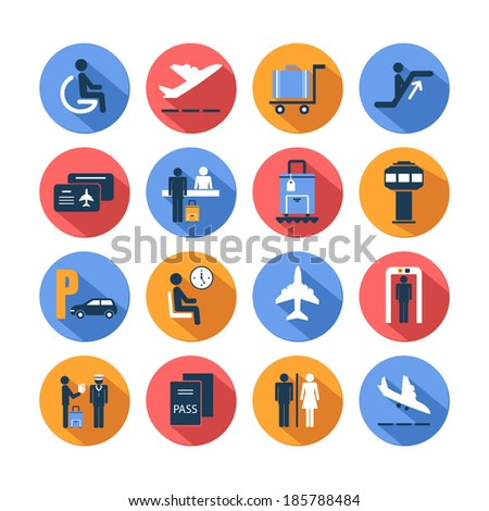 Colored airport transportation flat icons set with staff suitcase lounge cart isolated  illustration - stock photo