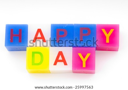 Colored alphabet cubes on a white background