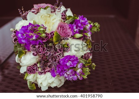 colored   amazing bouquet of flowers for his young wife - stock photo