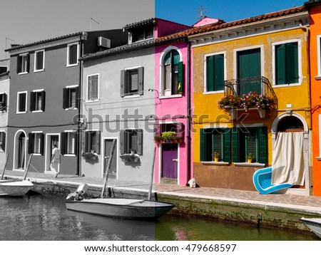 Colored and black and white split image of Burano houses in Veneto, Italy