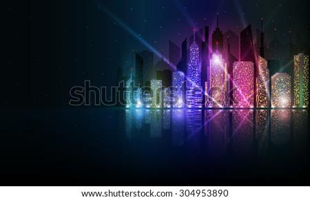 Colored and bright night cityscape - stock photo