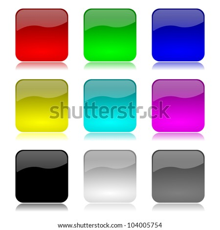 Colored and glossy empty app buttons set with reflection on white background illustration
