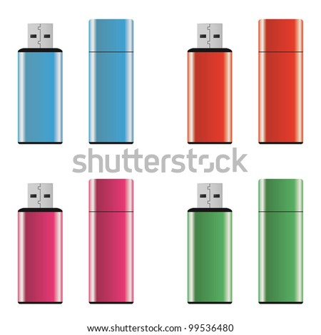 Colored and isolated USB pen drives - stock photo
