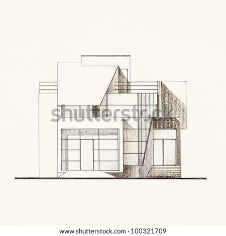 colored architectural blueprint of modern house facade, drawn by hand