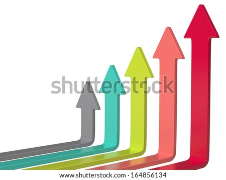 Colored arrows chart on white background, 3D