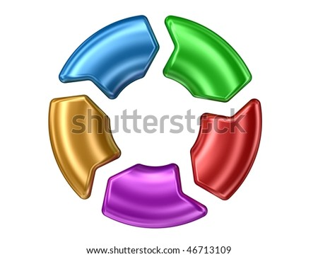 colored arrows round - stock photo