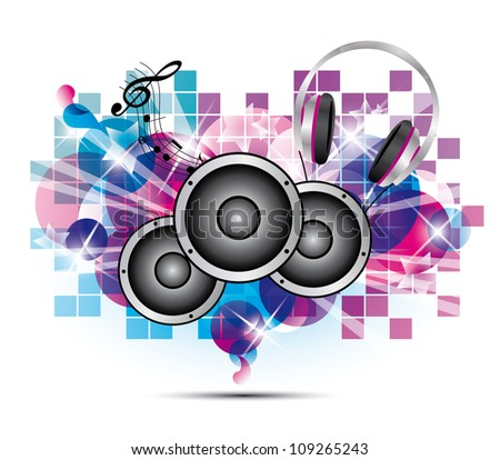 colored background music with headphones and speakers