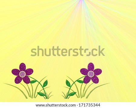 colored background with free space and smaller blooms