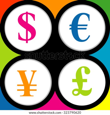 Colored background with the currency signs of Dollar, Euro, Pound and Yen.