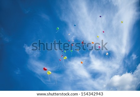 colored balloons fly to the sky