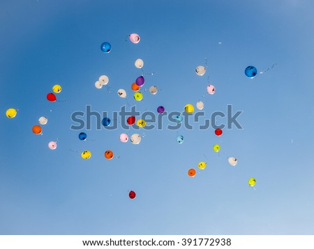 colored balloons in the sky for a background - stock photo