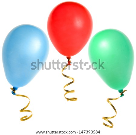 colored balloons isolated on white background