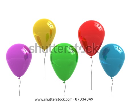 Colored balloons isolated on white. 3d render