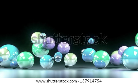 colored balls front view of a dark background - stock photo