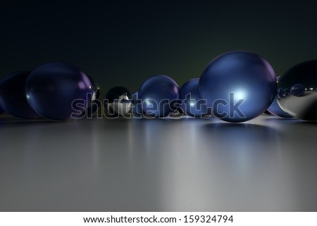 colored balls front view of a dark background