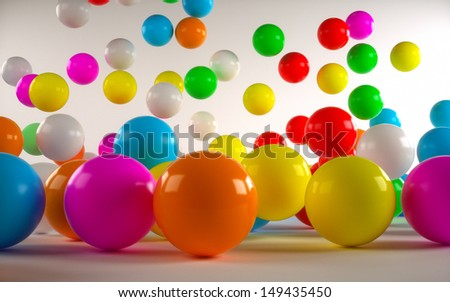 colored balls front view of a light background