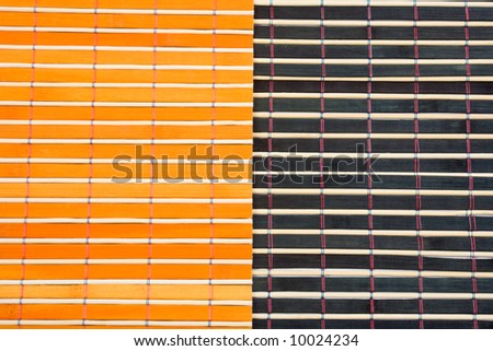 Colored bamboo table-cloth close-up