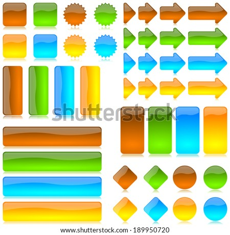 Colored bar, button, arrow, graphic element series - stock photo
