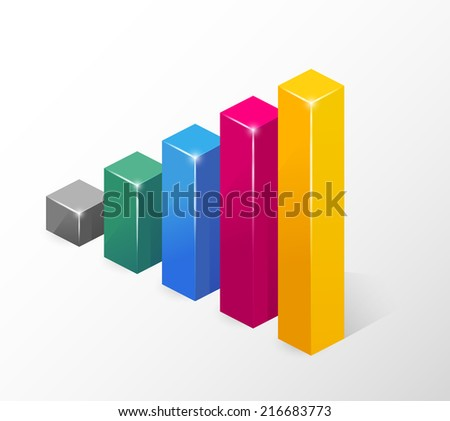 Colored Bar Chart  Emphasizing Growth  Isolated on White Background