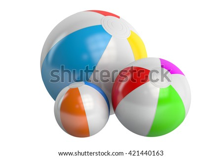 Colored beach ball, 3D rendering isolated on white background