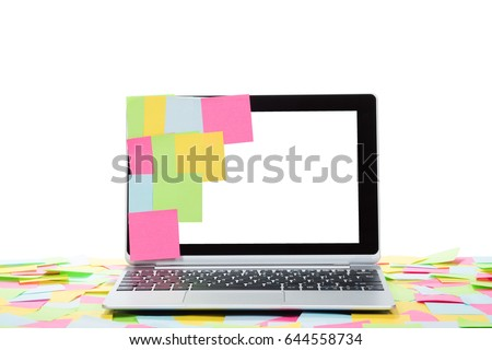 Laptop Covered Colorful Blank Notes Stock Photo 610942499